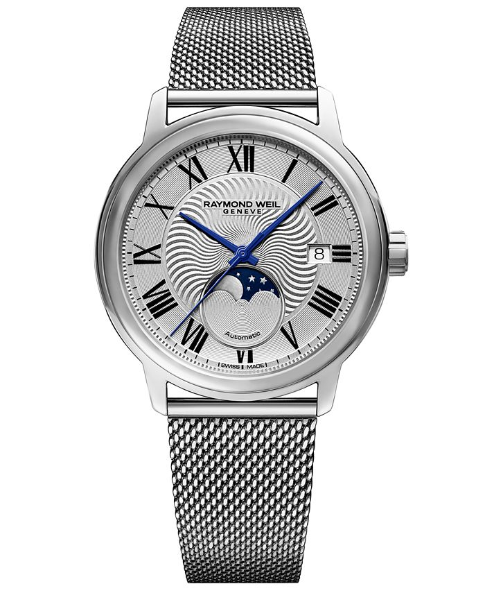 Raymond Weil - Men's Swiss Automatic Maestro Moonphase Stainless Steel Mesh Bracelet Watch 40mm