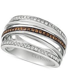 Le Vian Chocolatier® Diamond Multi-Band Crisscross Ring (3/8 ct. t.w.) in 14k White Gold