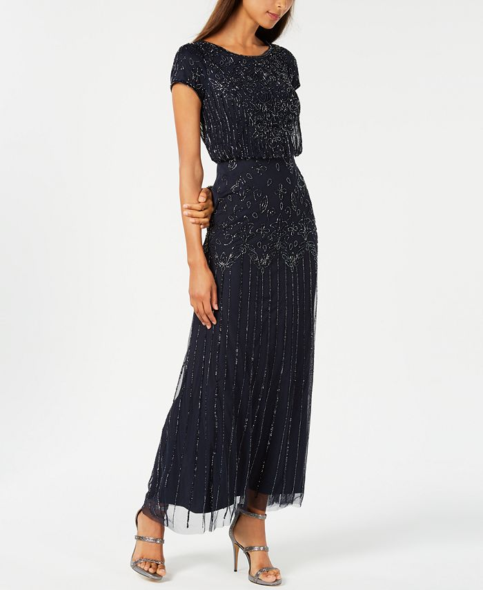 Adrianna Papell - Petite Beaded Blouson Gown