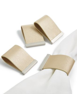 Set of 4 Faux Leather Champagne Napkin Rings, Created for Macy's