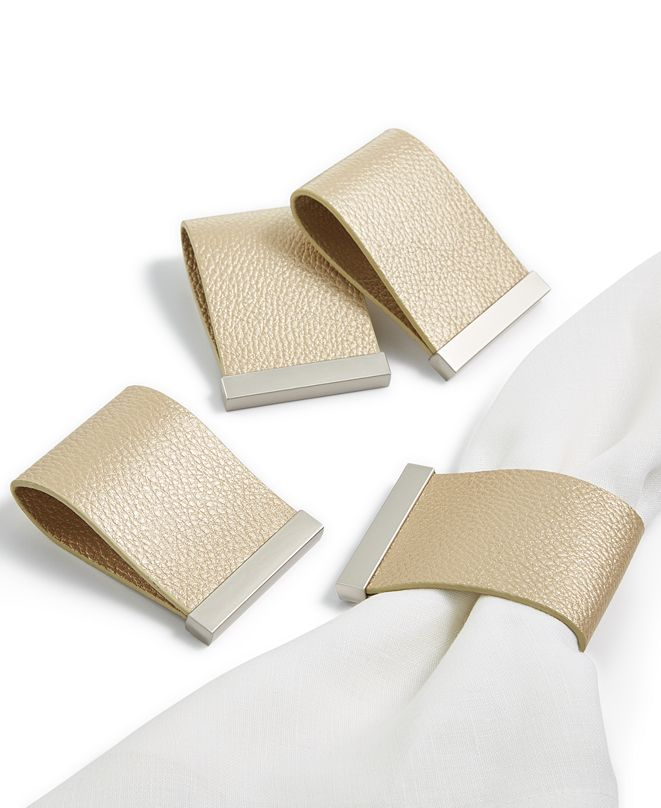 Hotel Collection Set of 4 Faux Leather Champagne Napkin Rings, Created for Macy's