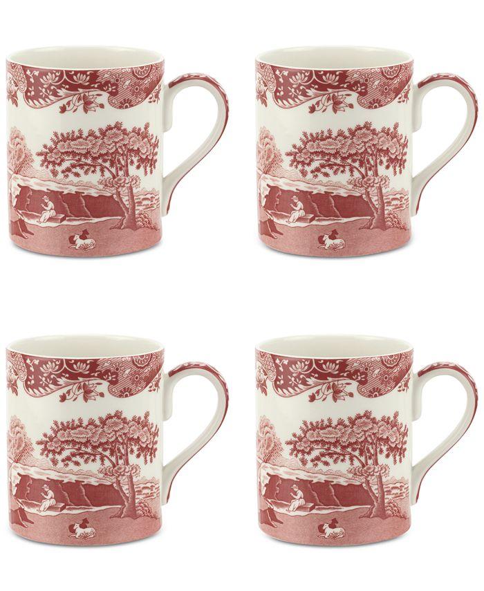 Spode - Cranberry Italian Mug, Set of 4