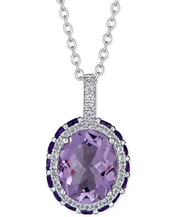"Macy's Multi-Gemstone 18"" Pendant Necklace (4-3/4 ct. t.w.) in Sterling Silver"