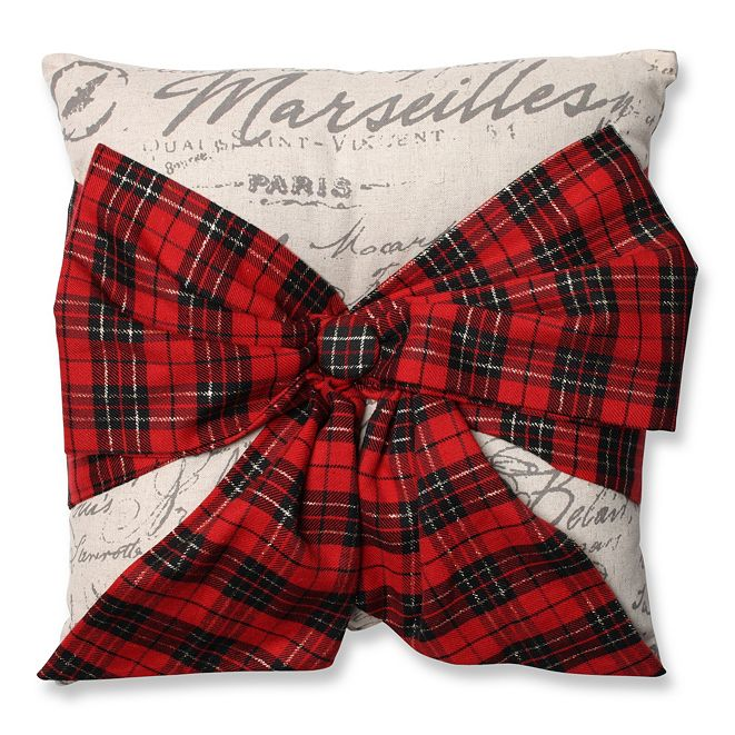 "Pillow Perfect Holiday Plaid Bowknot 16.5"" Throw Pillow"