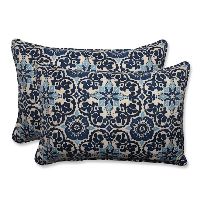 Pillow Perfect Woodblock Prism Blue Over-sized Rectangular Throw Pillow, Set of 2