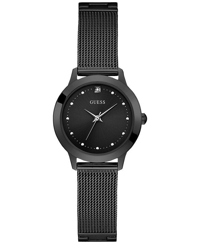 GUESS - Women's Diamond-Accent Black Stainless Steel Mesh Bracelet Watch 30mm