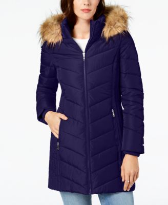 Tommy Hilfiger Faux-Fur-Trim Hooded Chevron Puffer Coat