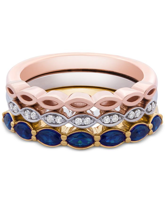 Macy's - 3-Pc. Set Lab-Created Sapphire (1 ct. t.w.) & White Sapphire Accent Stack Rings in Sterling Silver, Gold-Plate & Rose Gold-Plate