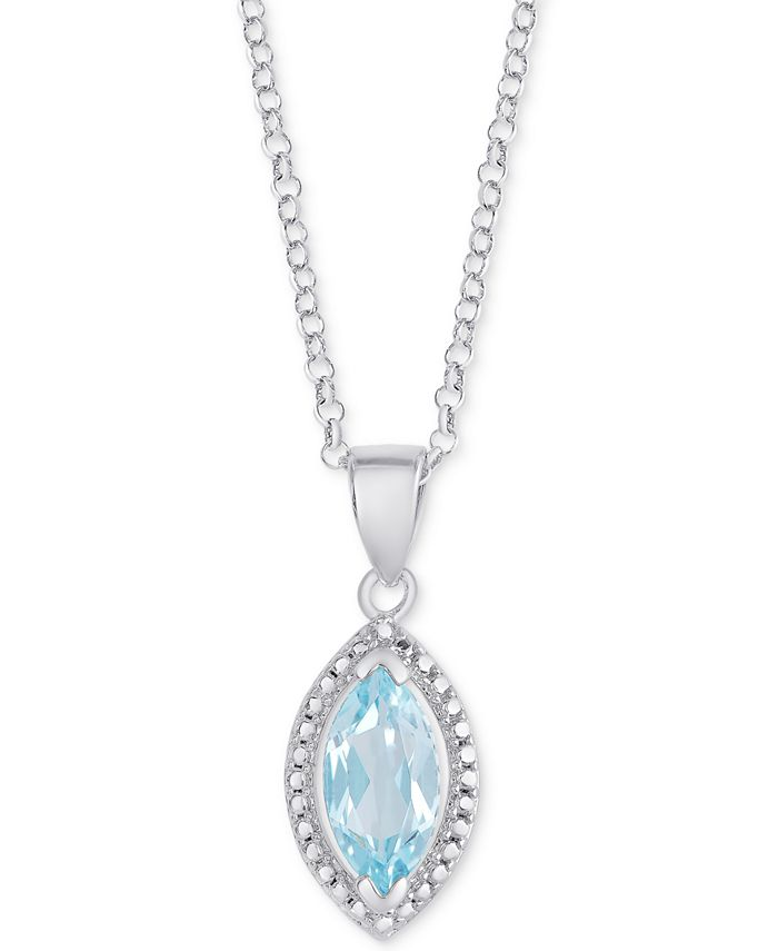 "Macy's - Blue Topaz Marquise 18"" Pendant Necklace (1-1/5 ct. t.w.) in Sterling Silver"