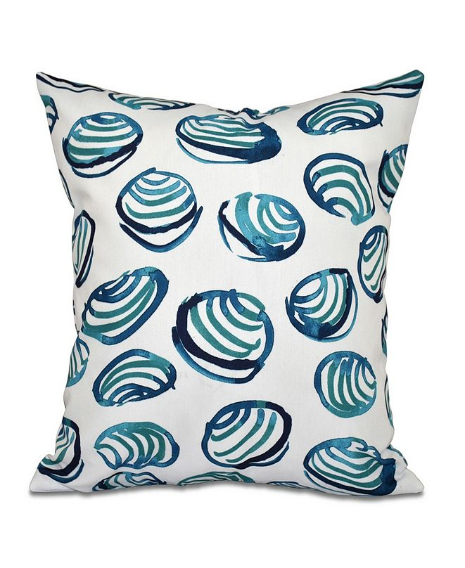 E by Design Clams 16 Inch Teal Decorative Coastal Throw Pillow