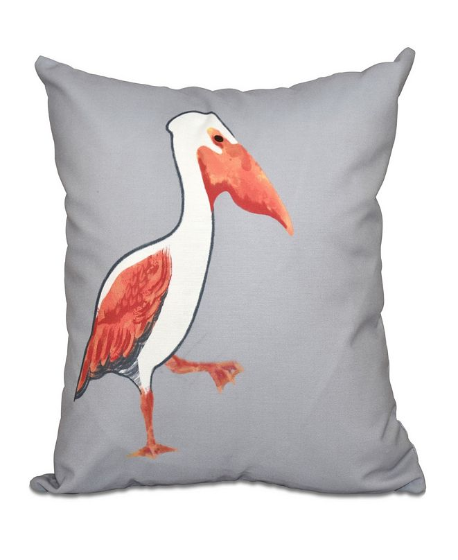 E by Design Pelican March 16 Inch Gray and Orange Decorative Coastal Throw Pillow