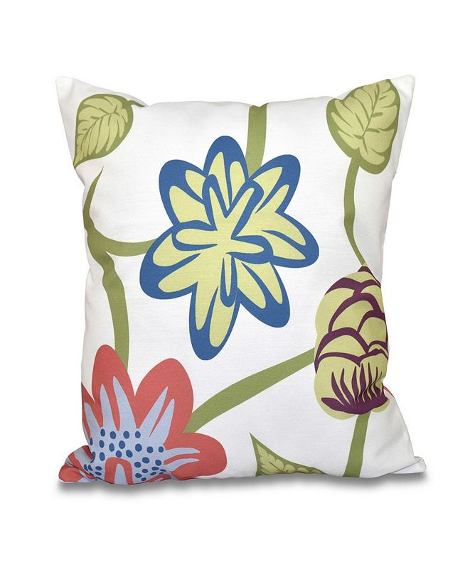 E by Design Tropical Floral 16 Inch Coral Decorative Floral Throw Pillow
