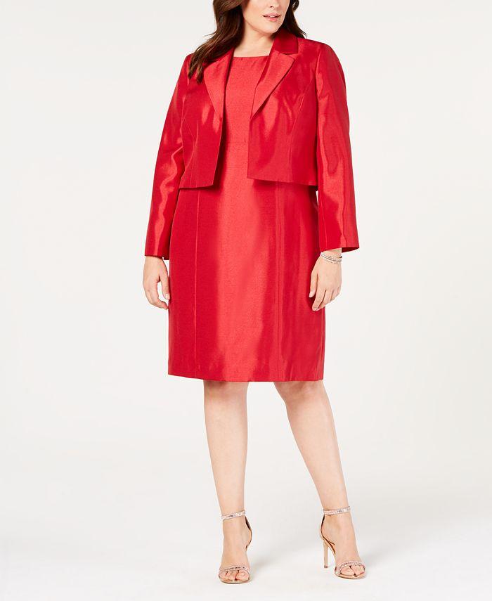 Le Suit - Plus Size Shiny Flyaway Jacket & Dress Suit