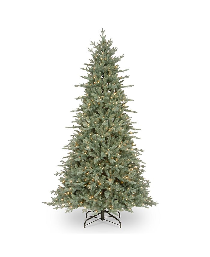 National Tree Company - National Tree 7 .5' Feel Real Buckingham Blue Spruce Hinged Tree with 650 Clear Lights