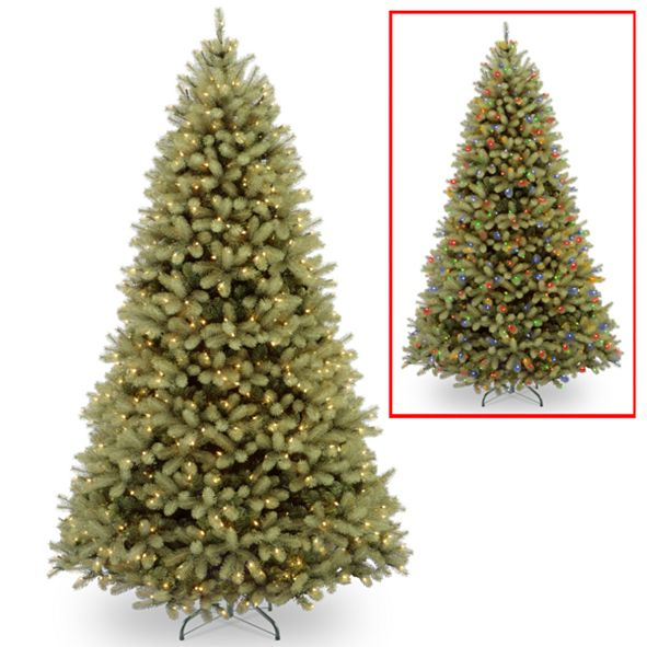 """National Tree Company National Tree 10' """"Feel Real"""" Down Swept Douglas Fir Hinged Tree with 1000 Low Voltage Dual LED Lights"""