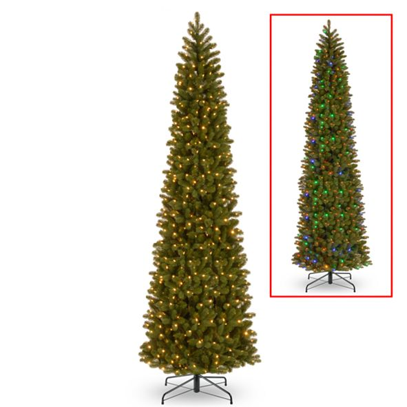 National Tree Company National Tree 12' Feel Real Downswept Douglas Fir Pencil Slim Tree with 850 Dual Color LED Lights & Caps