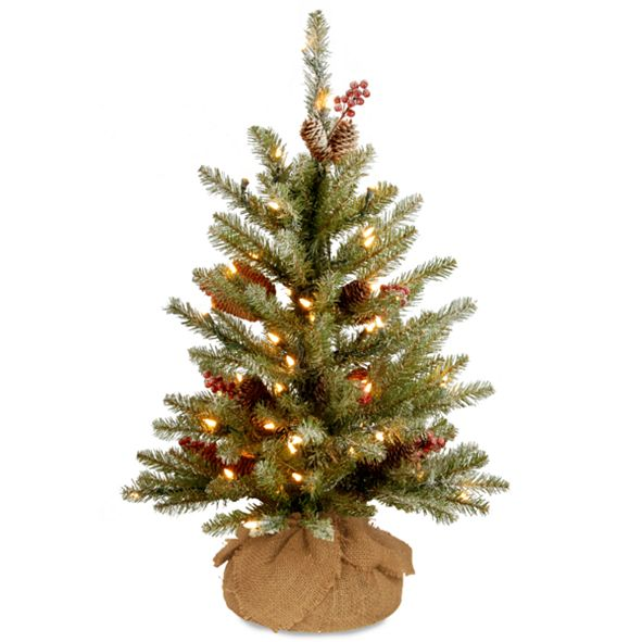 National Tree Company 3' Dunhill® Fir Small Tree with Red Berries, Snow, Cones & Battery Operated LED Lights