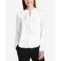 Deals on Tommy Hilfiger Ruffled Tie-Neck Blouse