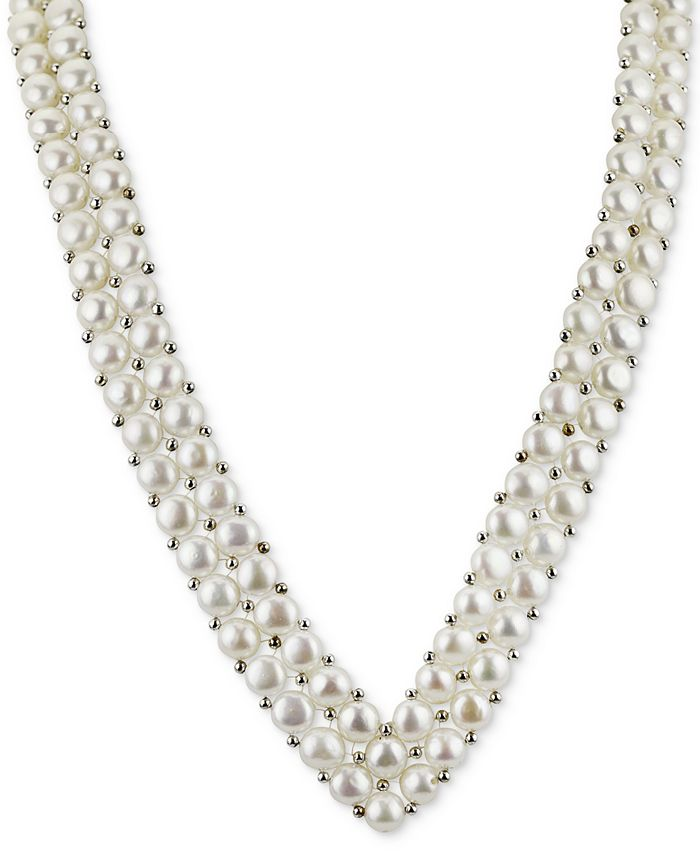 """Macy's - Cultured Freshwater Button Pearl (6mm) and Silver Bead """"V"""" 18"""" Statement Necklace in Sterling Silver"""