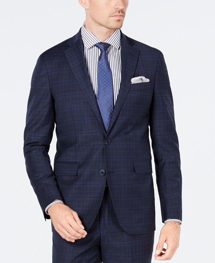 Cole Haan - Men's Grand OS Slim-Fit Wearable Technology Plaid Suit Jacket