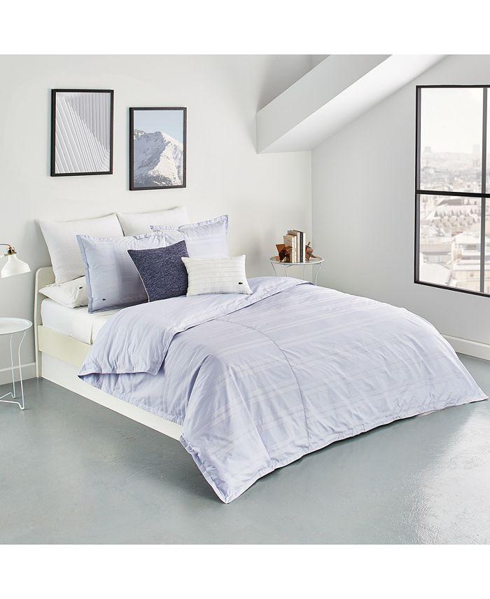 Lacoste Home - Sideline Cotton 3-Pc. Dobby Stripe Full/Queen Duvet Cover Set