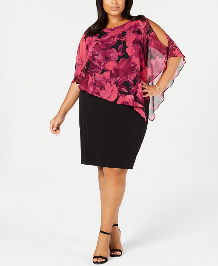 Connected - Plus Size Asymmetrical-Overlay A-Line Dress