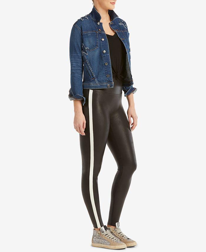 SPANX - Tuxedo-Stripe Faux-Leather Leggings