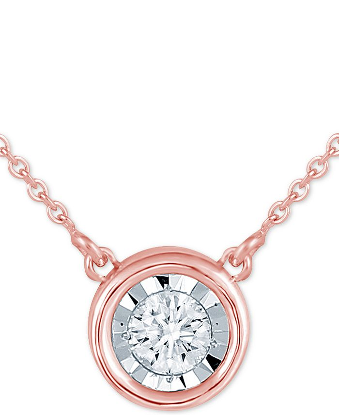 "Macy's - Diamond Bezel 18"" Pendant Necklace (1/8 ct. t.w.)"