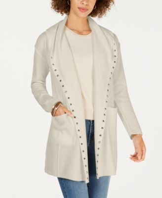Style & Co Stud-Embellished Hooded Cardigan, Created for Macy's