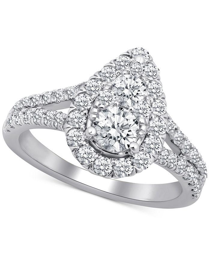 Macy's - Diamond Teardrop Openwork Engagement Ring (1-3/4 ct. t.w.) in 14k White Gold