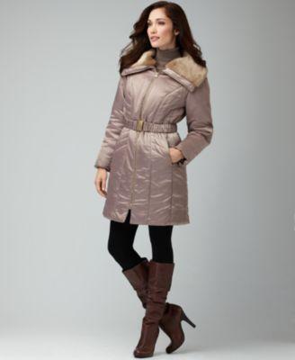 Alfani Coat, Faux Fur Long Sleeve Belt Puffer