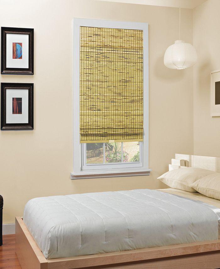 "Home Basics - Cordless Burnout Bamboo Roman Shade, 48""x64"""