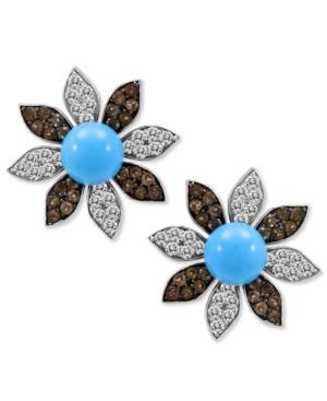 Carlo Viani 14k White Gold Earrings, Turquoise (6-1/5 mm) and Multistone Flower Stud Earrings