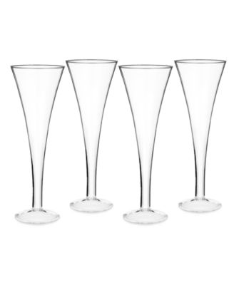 Marquis by Waterford Glassware, Set of 4 Vintage Trumpet Toasting Flutes