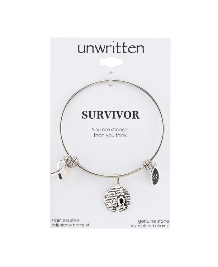 """Unwritten """"Survivor"""" Breast Cancer Awareness Bangle Bracelet in Stainless Steel Silver Plated Charms & Reviews - Bracelets - Jewelry & Watches - Macy's"""