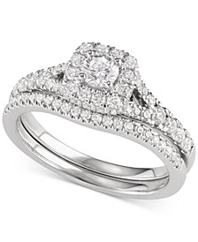Diamond Halo Bridal Set (1 ct. t.w.) in 14k Yellow or White Gold