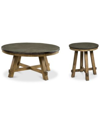 Breslin Bluestone Table Furniture, 2-Pc. Set (Round Coffee Table & Round End Table)