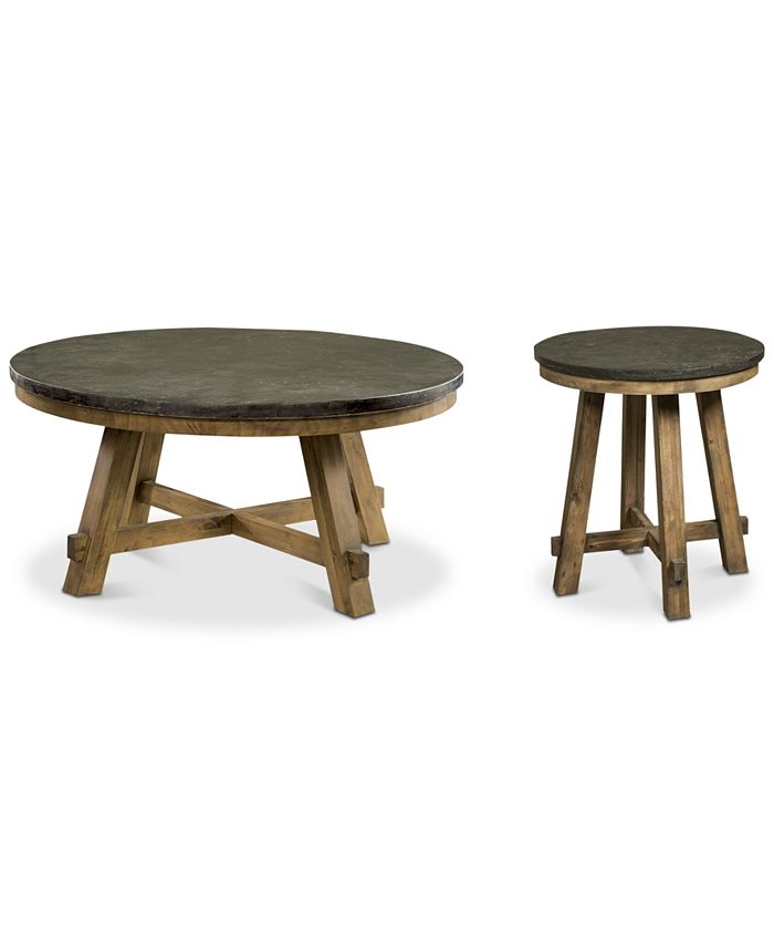 Furniture - Breslin Bluestone Table , 2-Pc. Set (Round Coffee Table & Round End Table)