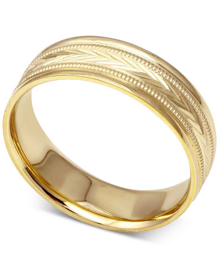 Macy's - Men's Engraved Wedding Band in 14k Gold