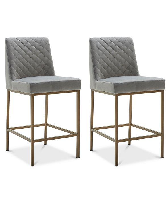 Furniture Cambridge Velvet Stool, 2-Pc. Set (2 Grey Counter Stools)