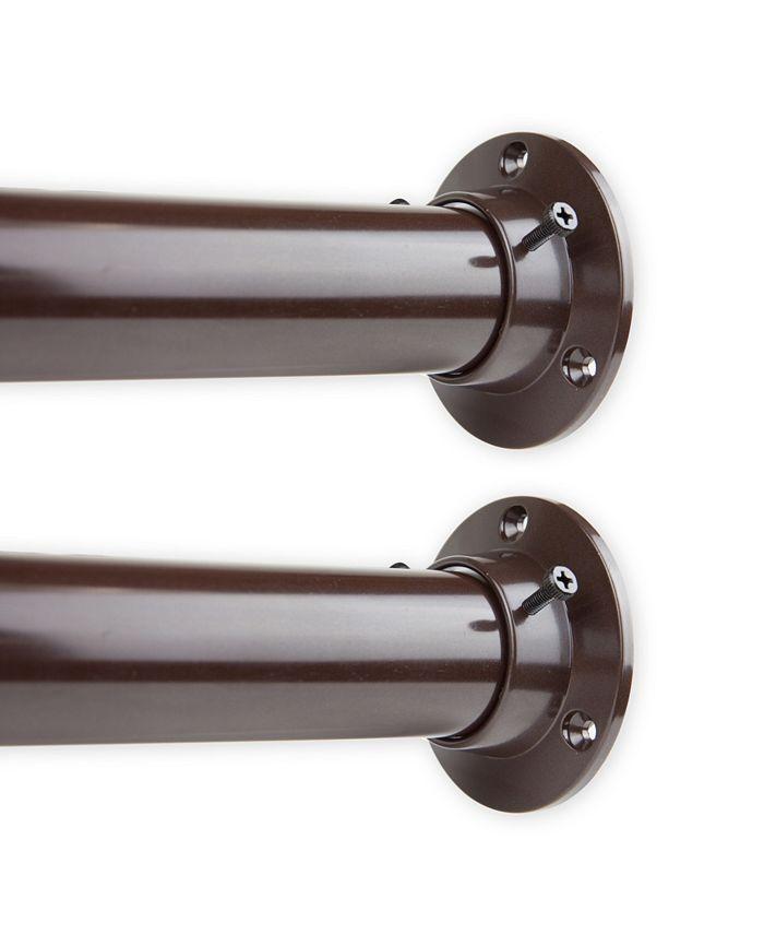 """Rod Desyne - 1.5"""" Adjustable 66-115 inch Room Divider Rod and Socket Set - Cocoa"""