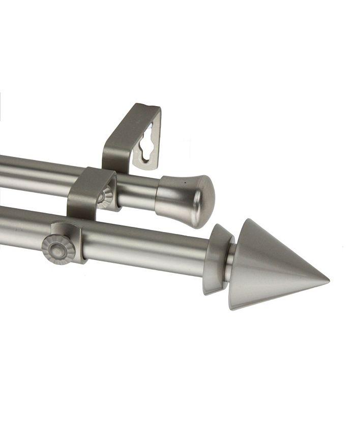 Rod Desyne - Cone Double Curtain Rod 13or16 inch dia 66-120 inch - Satin Nickel