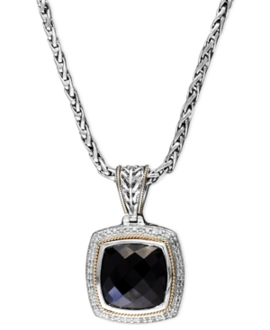 Balissima by Effy Collection 18k Gold and Sterling Silver Necklace, Onyx (9-3/4 ct. t.w.) and Diamond (1/4 ct. t.w.) Square Pendant