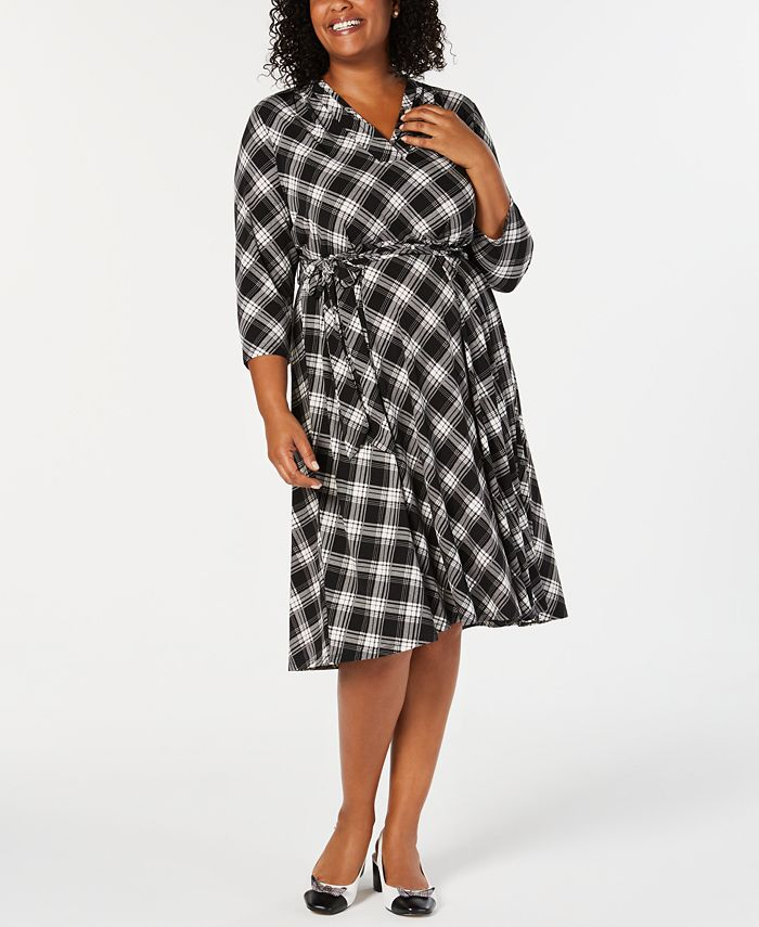 Charter Club - Plus Size Plaid V-Neck Dress