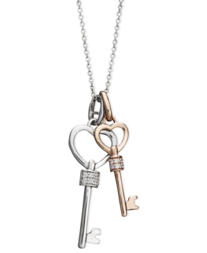 Diamond Necklace, 14k Rose Gold and Sterling Silver Diamond Double Heart Key Pendant (1/10 ct. t.w.)