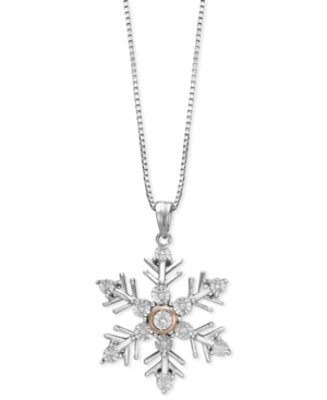Sterling Silver and 14k Rose Gold Necklace, Diamond Accent Snowflake Pendant