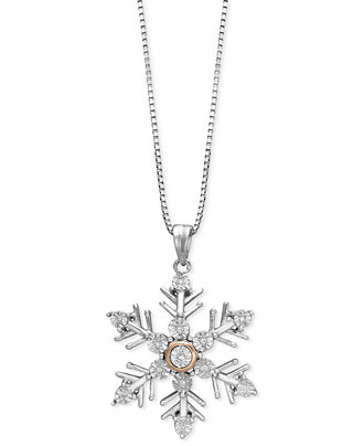 Diamond Accent Snowflake Pendant Necklace in Sterling