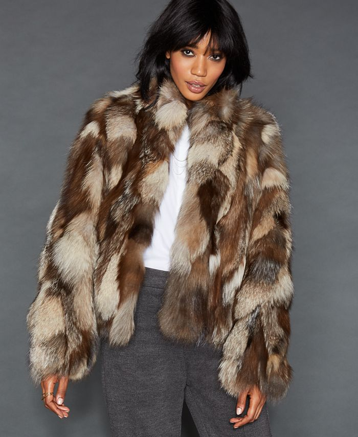 The Fur Vault - Pieced Fox Fur Cropped Jacket