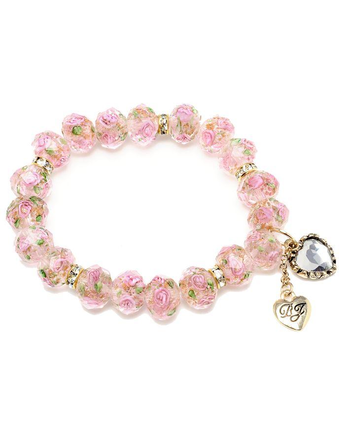 Betsey Johnson - Pink Flower Beaded Stretch Bracelet