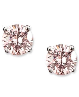 CRISLU Children's Earrings, Platinum over Sterling Silver Princess Cut Pink Cubic Zirconia Stud Earrings (1/2 ct. t.w.)